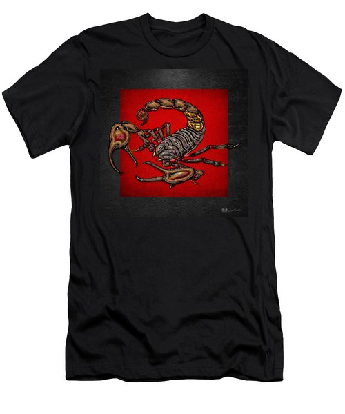 Scorpion On Red And Black  Men's T-Shirt (Athletic Fit)