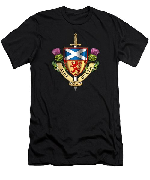 Scotland Forever - Alba Gu Brath - Symbols Of Scotland Over Black Velvet Men's T-Shirt (Athletic Fit)