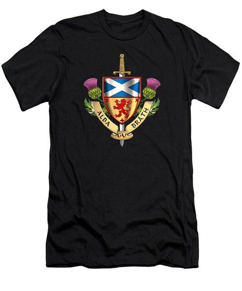 Scotland Forever - Alba Gu Brath - Symbols Of Scotland Over Brown Leather Men's T-Shirt (Athletic Fit)