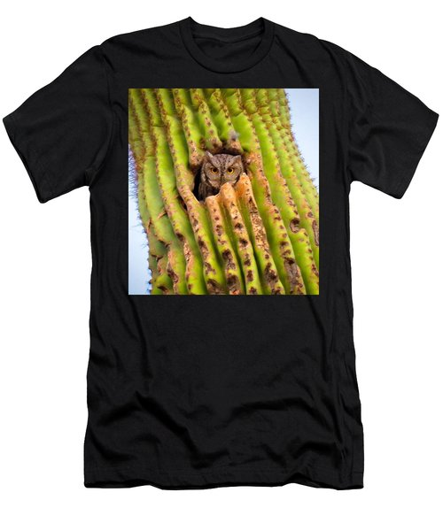 Screech Owl In Saguaro Men's T-Shirt (Athletic Fit)