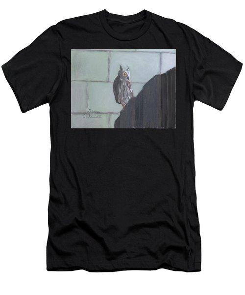 Screech Owl On Gate To Pergola Men's T-Shirt (Athletic Fit)