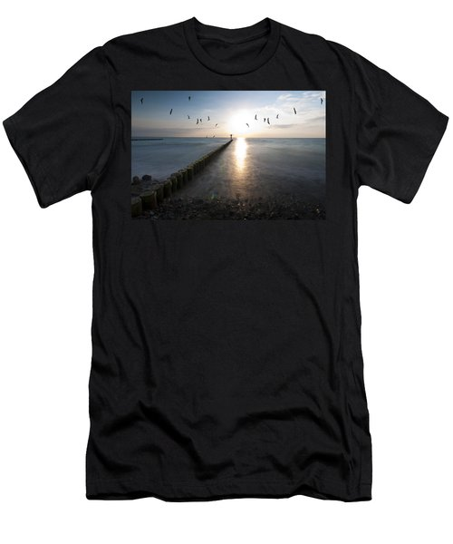 Sea Birds Sunset. Men's T-Shirt (Athletic Fit)