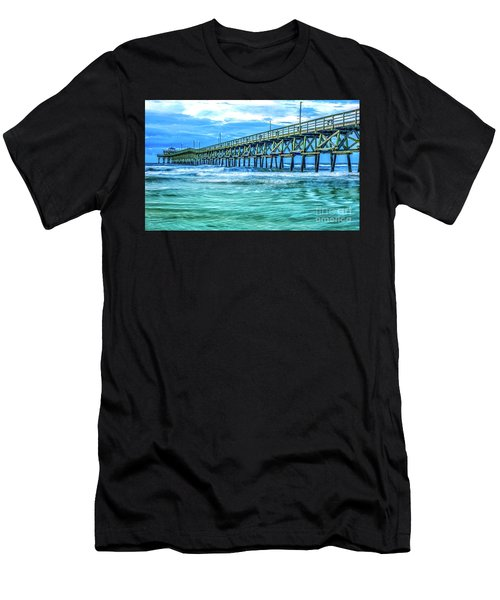 Sea Blue Cherry Grove Pier Men's T-Shirt (Athletic Fit)