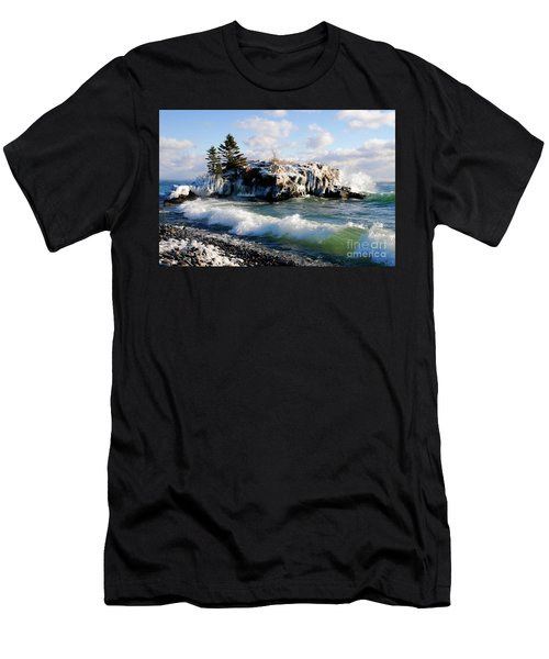 Sea Smoke At Hollow Rock Men's T-Shirt (Slim Fit) by Sandra Updyke