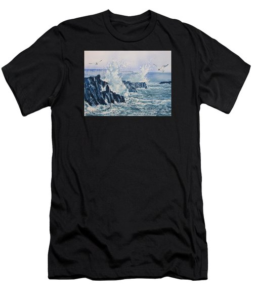 Sea, Splashes And Gulls Men's T-Shirt (Athletic Fit)