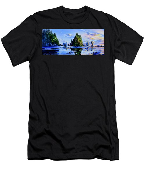 Men's T-Shirt (Athletic Fit) featuring the painting Sea Stack Serenity by Hanne Lore Koehler