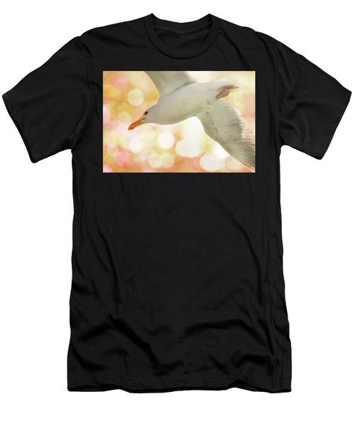 Seagull On Pink And Yellow Sky Men's T-Shirt (Athletic Fit)