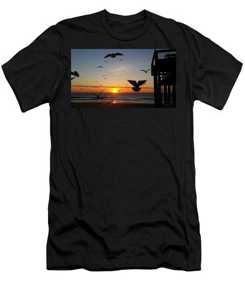 Seagulls At Sunrise Men's T-Shirt (Athletic Fit)