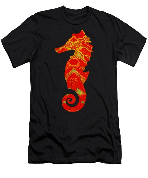 Seahorse Turquoise And Orange Left Facing Men's T-Shirt (Athletic Fit)