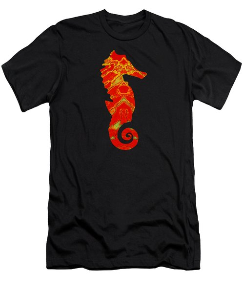 Seahorse Turquoise And Orange Right Facing Men's T-Shirt (Athletic Fit)