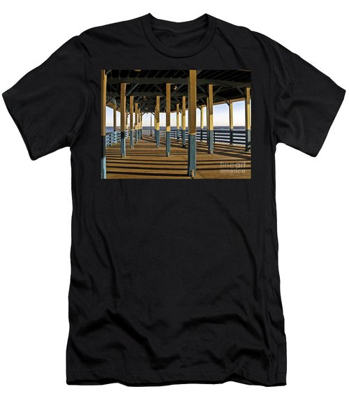 Seascape Walk On The Pier Men's T-Shirt (Slim Fit) by Carol F Austin