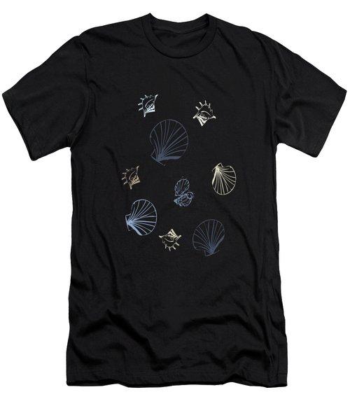 Seashell Pattern Men's T-Shirt (Slim Fit) by Christina Rollo