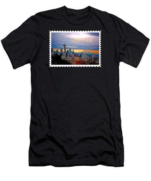 Seattle At Sunset Text Seattle Men's T-Shirt (Athletic Fit)