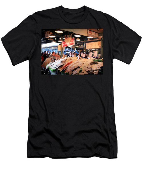 Men's T-Shirt (Athletic Fit) featuring the photograph Seattle Fish Throw Pike St Market by Peter Simmons