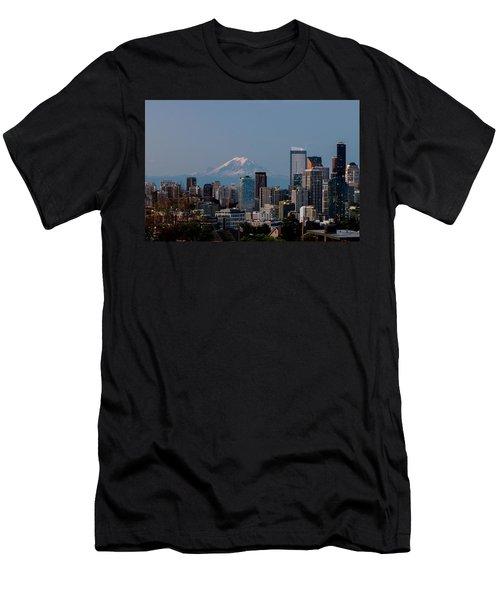 Seattle-mt. Rainier In The Morning Light .1 Men's T-Shirt (Slim Fit) by E Faithe Lester