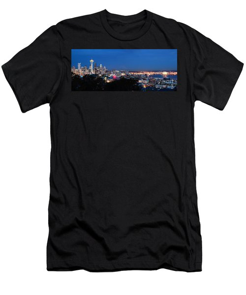 Men's T-Shirt (Athletic Fit) featuring the photograph Seattle Panorama At Twilight by Peter Simmons