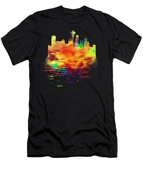 Seattle Skyline, Orange Tones On Black Men's T-Shirt (Slim Fit) by Pamela Saville