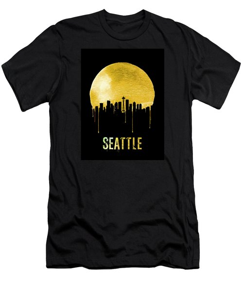 Seattle Skyline Yellow Men's T-Shirt (Athletic Fit)