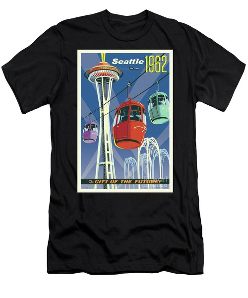 Seattle Poster- Space Needle Vintage Style Men's T-Shirt (Athletic Fit)