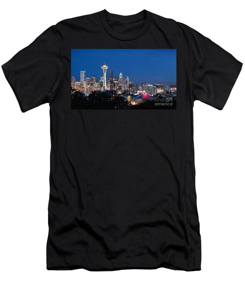 Men's T-Shirt (Athletic Fit) featuring the photograph Seattle Twight by Peter Simmons