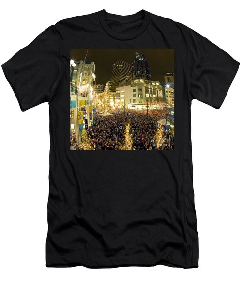 Men's T-Shirt (Athletic Fit) featuring the photograph Seattle Westlake Tree Lighting by Peter Simmons