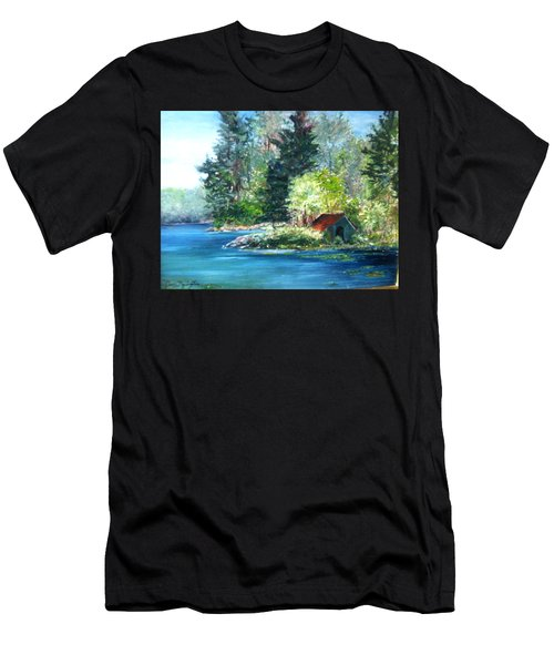 Secluded Boathouse-millsite Lake  Men's T-Shirt (Athletic Fit)