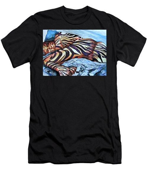 Men's T-Shirt (Athletic Fit) featuring the painting Seduction Of Stripes by Rene Capone
