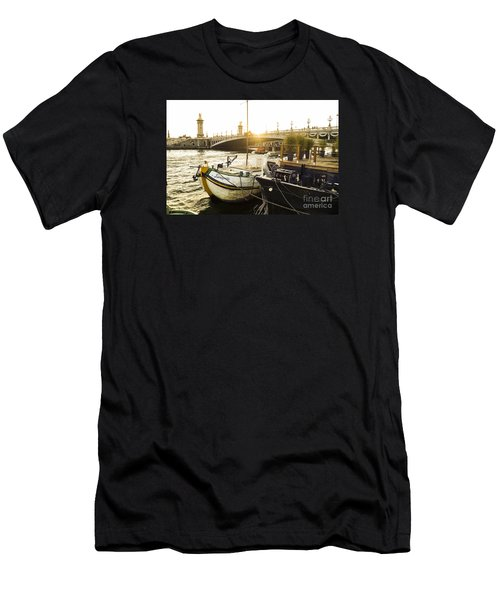 Seine River With Barges And Boats, Pont De Alexandre Bridge Behind, Paris France. Men's T-Shirt (Slim Fit) by Perry Van Munster