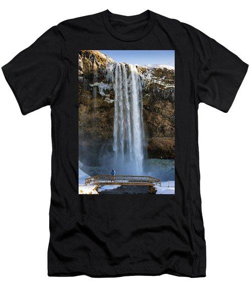 Seljalandsfoss Waterfall Iceland Europe Men's T-Shirt (Slim Fit) by Matthias Hauser