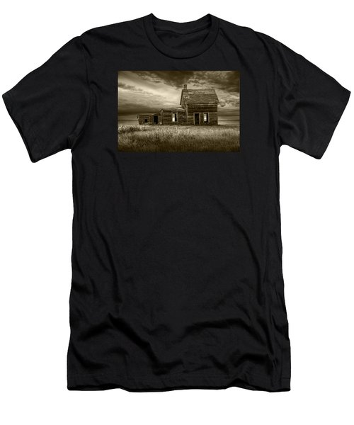 Sepia Tone Of Abandoned Prairie Farm House Men's T-Shirt (Athletic Fit)