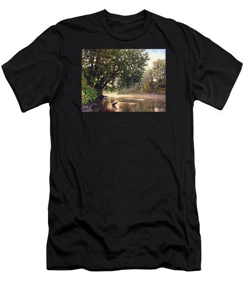 September Dawn Little Sioux River - Plein Air Men's T-Shirt (Slim Fit) by Bruce Morrison