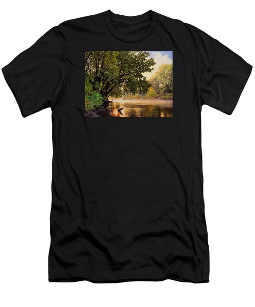September Dawn, Little Sioux River - Studio Painting Men's T-Shirt (Athletic Fit)