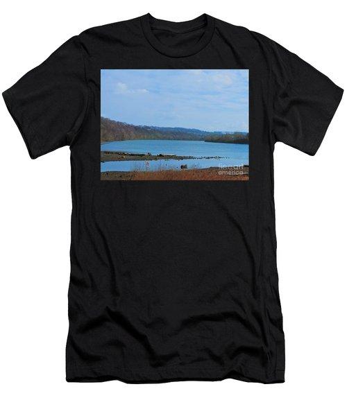 Serene River Landscape Men's T-Shirt (Athletic Fit)
