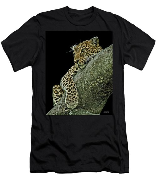 Men's T-Shirt (Athletic Fit) featuring the digital art Serengeti Leopard 2a by Larry Linton