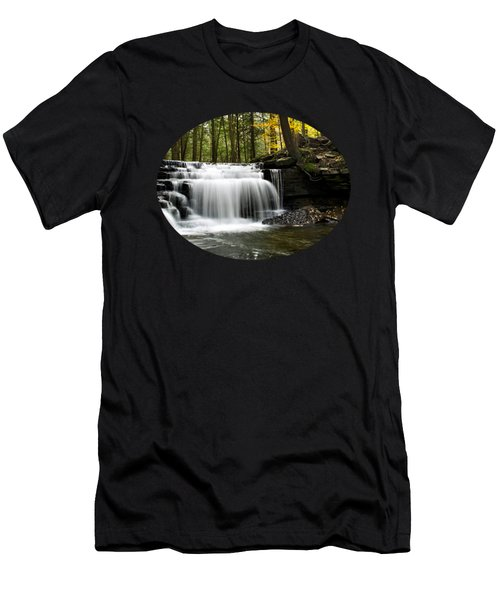 Serenity Waterfalls Landscape Men's T-Shirt (Slim Fit) by Christina Rollo