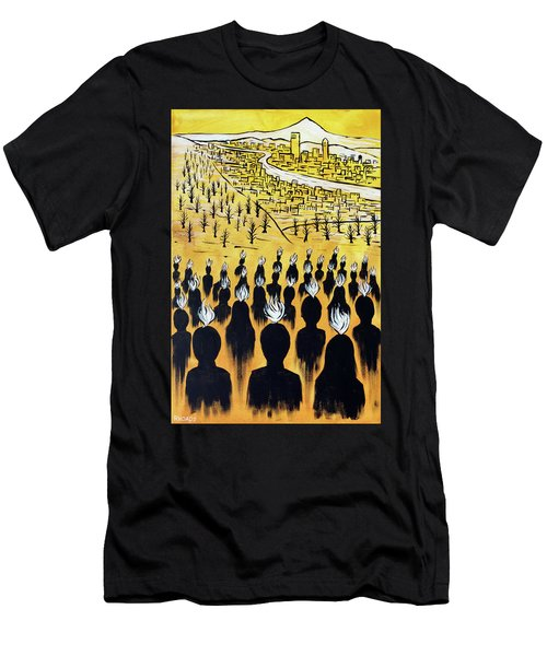 Men's T-Shirt (Athletic Fit) featuring the painting Set Ablaze by Nathan Rhoads