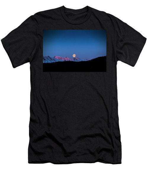 Setting Moon Over Alaskan Peaks Men's T-Shirt (Athletic Fit)