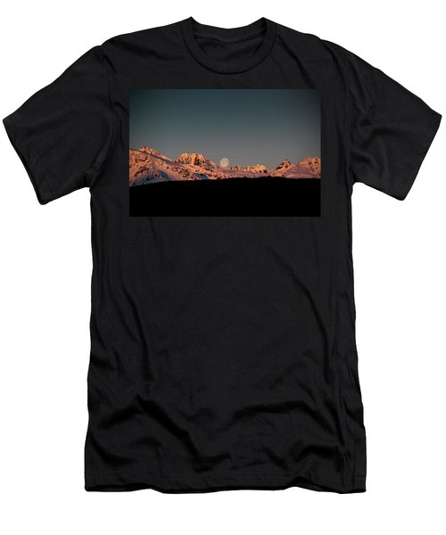 Setting Moon Over Alaskan Peaks V Men's T-Shirt (Athletic Fit)