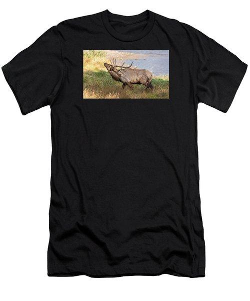 Seven Point Elk Bugling Men's T-Shirt (Athletic Fit)