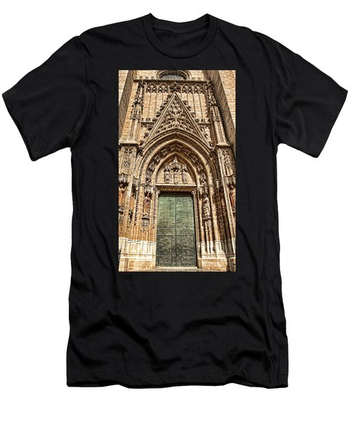 Men's T-Shirt (Athletic Fit) featuring the photograph Seville Cathedral Door, Spain by Tatiana Travelways