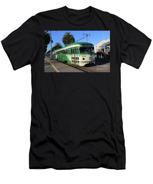 Men's T-Shirt (Slim Fit) featuring the photograph Sf Muni Railway Trolley Number 1006 by Steven Spak