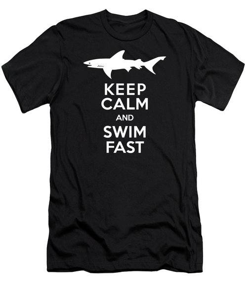 Shark Keep Calm And Swim Fast Men's T-Shirt (Slim Fit) by Antique Images