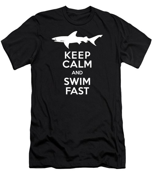 Shark Keep Calm And Swim Fast Men's T-Shirt (Athletic Fit)