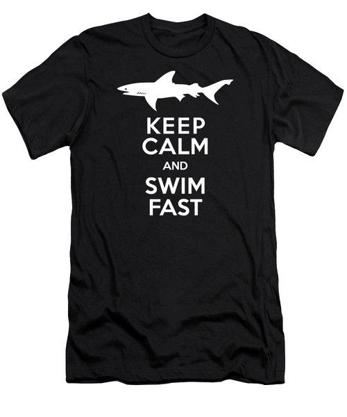 Shark Keep Calm And Swim Fast Men's T-Shirt (Slim Fit)