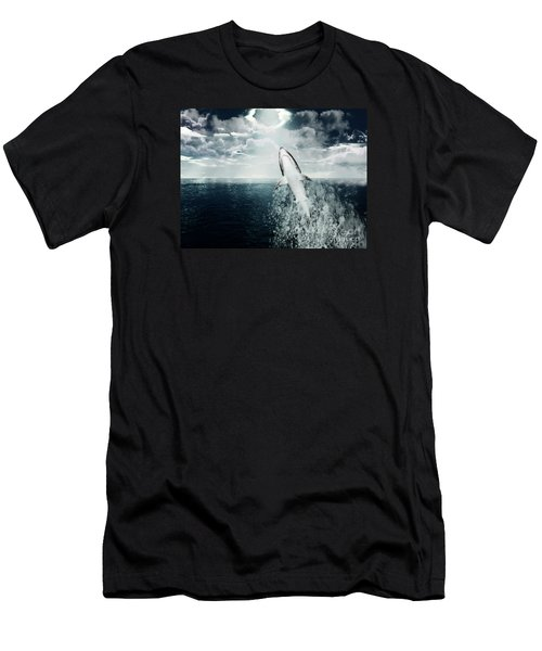Men's T-Shirt (Slim Fit) featuring the photograph Shark Watch by Digital Art Cafe