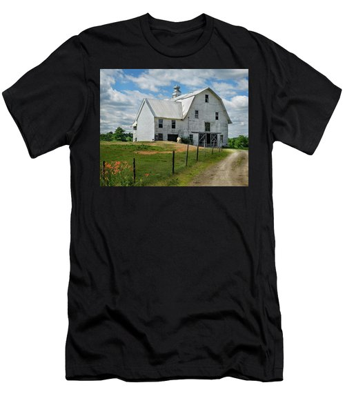 Sheep By The White Barn Men's T-Shirt (Athletic Fit)