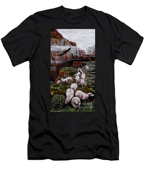 Sheep In The Mountains  Men's T-Shirt (Athletic Fit)