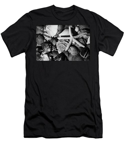 Men's T-Shirt (Athletic Fit) featuring the photograph Shells And Starfish In Black And White by Angie Tirado