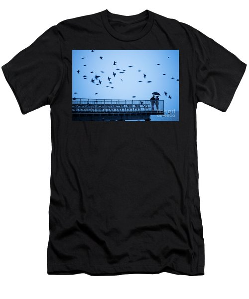 Sheltering Under An Umbrella Watching The Birds Men's T-Shirt (Athletic Fit)