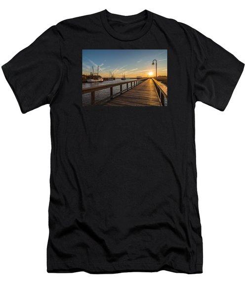 Shem Creek Pier Sunset - Mt. Pleasant Sc Men's T-Shirt (Athletic Fit)